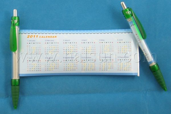pen with pull out calendar