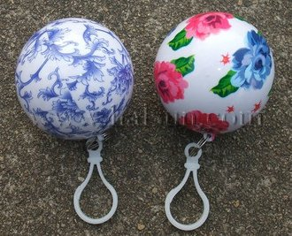 blue and white porcelain printed ball raincoats